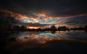Clouds Nature Dark Sunset Night Lakes Reflections Hdr Photography ...