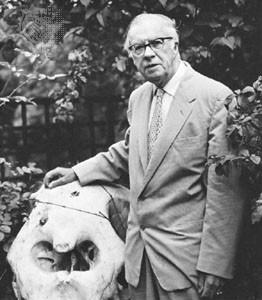 Julian Huxley and elephant skull