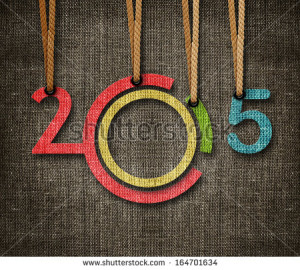 Happy New year 2015, numbers hunging by rope as puppeteer on sackcloth ...