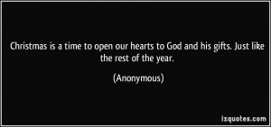 is a time to open our hearts to God and his gifts. Just like the rest ...