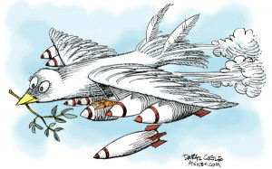 Click to enlarge this funny comic cartoon picture of a dove of peace ...