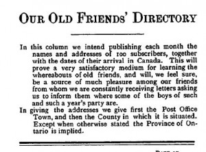 Names of children appearing in the Old Friends Directories