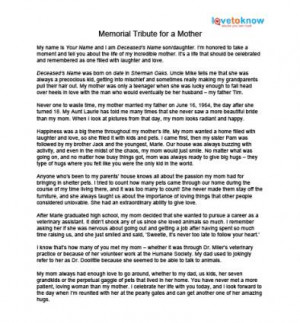 Memorial Tributes to Mothers