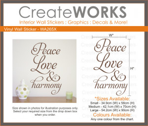 Details about Wall quote art sticker - Peace Love & Harmony - WA265X