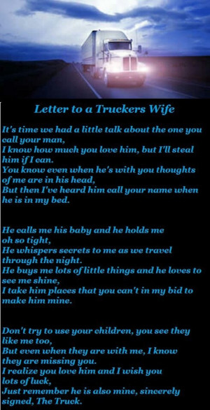 Letter to a truckers wife