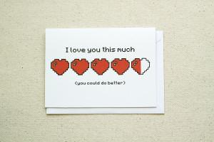 Sarcastic Love - Health Bar Hearts Note Card