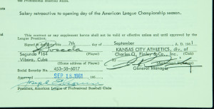 Joe Cronin & Charles O. Finley Signed Player Contract (1961). Related ...