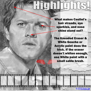 how to draw castiel, supernatural, misha collins step 15