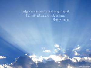 Christian Quote: Kind Words By Mother Teresa Papel de Parede Imagem