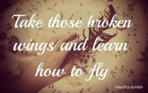 quotes about life take those broken wings and learn how to fly Quotes ...