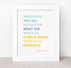 Inspirational Print - 8x10 - Sunshine Quote, Eco Friendly Typographic ...