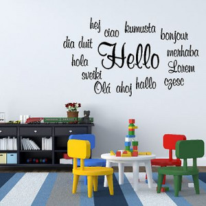 Hello Foreign Language Quote Bonjour Hola Wall Sticker Art Decoration ...