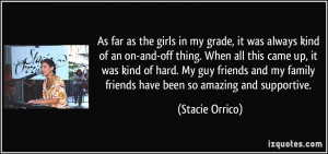 As far as the girls in my grade, it was always kind of an on-and-off ...