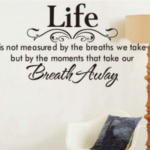 New Life Breath Away Quote Vinyl Decal Removable Home Decor Art Wall ...