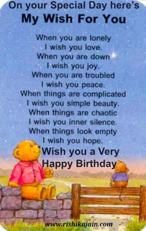 you special day here s my wish for you when you are lonely i wish you ...