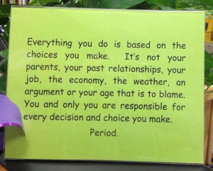 Blame game doesn't work - YOU are accountable for your choices