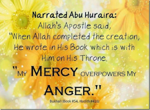 My Mercy Overpowers My Anger…  Hadith On Mercy Of ALLAH