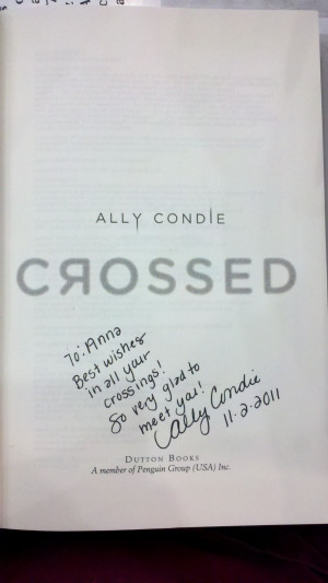 Crossed Ally Condie Ally condie crossed signing!