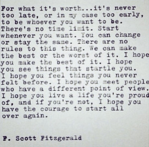 Scott Fitzgerald Quotes For What Its Worth Quotes i love