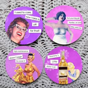 Sassy Ladies -- Funny Retro Images Pink Mousepad Coaster Set