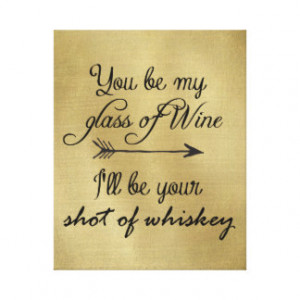 Glass of Wine Shot of Whiskey Stretched Canvas Prints