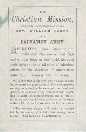 The Christian Mission becomes The Salvation Army (May 1878)