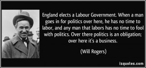 England elects a Labour Government. When a man goes in for politics ...
