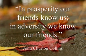 In Prosperity Our Friends Know Use In Adversity We Know Our Friends ...