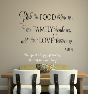 Bless the food Vinyl lettering wall decal words home kitchen art Wall ...