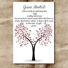 Printable 30th 40th 50th 60th Wedding Anniversary or Birthday Party ...