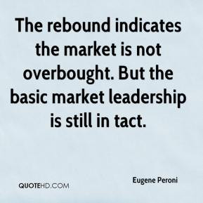 Eugene Peroni - The rebound indicates the market is not overbought ...