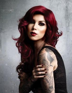 Kat Von d red burgundy fall hair.Hair Colors, Red Hair, Kat Von D ...