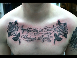Script And Roses On Chest Picture #7805