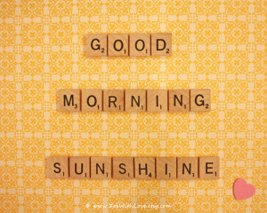Yellow Wall Art - Good Morning Sunshine Art - Scrabble Quotes - Yellow ...