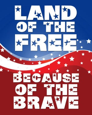 """Full HD Memorial Day 2014 Banner Clipart with message: """"Land of the ..."""