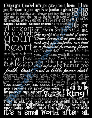 Disney Quote Typography (Song Lyric Art Print ) 11 by 14