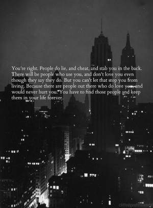 You're Right, People Do Lie and Cheat ~ Life Quote