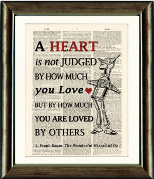 Wizard of Oz Tin Man Heart Quote - vintage book page print image on a ...