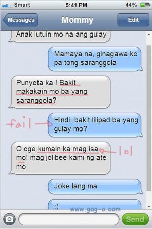 Bakit dapat maging masunurin sa mga Mommy? Real Life Pinoy Text Fail
