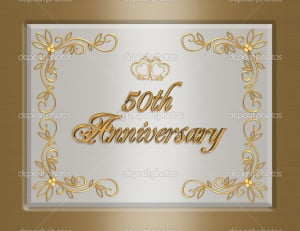 50th golden Wedding Anniversary invitati - Stock Image