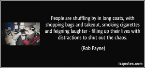 by in long coats, with shopping bags and takeout, smoking cigarettes ...
