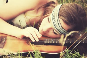 ... , cute, dream, girl, guitar, happiness, melody, music, pretty, song
