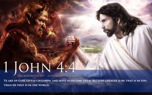 Bible Verse On Strength 1 John 4:4 Jesus Battles Satan HD Wallpaper
