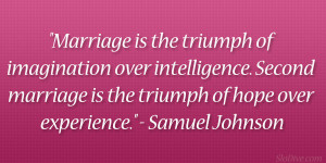 Marriage is the triumph of imagination over intelligence. Second ...