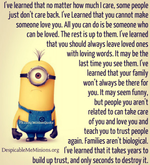 Minion Family Quote Ive learned that no matter