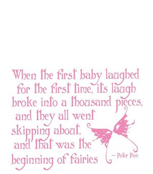 cute for a baby girls room Fairy Garden Quote from JM Barrie.
