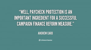 Well, paycheck protection is an important ingredient for a successful ...