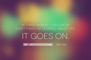 Life goes on. Click here for more from For you & you & you.