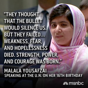 Malala Yousafzai, who was shot in the head by the Taliban, spoke at ...