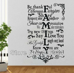 Family Wall Quote Decals Stickers Decor Living Room Kids Room PVC Art ...